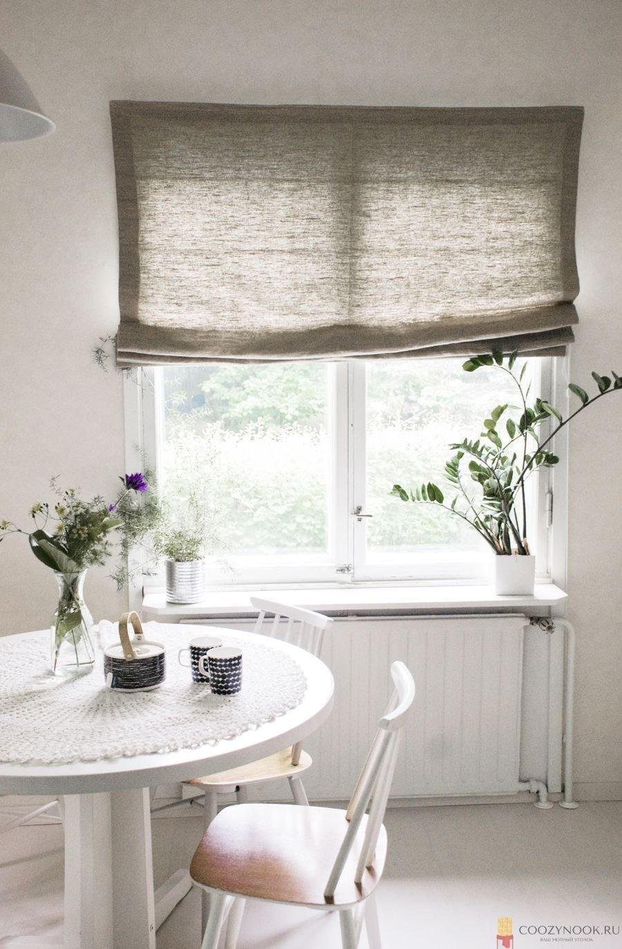 шторы, фото, пример, кухня, скандинавский стиль