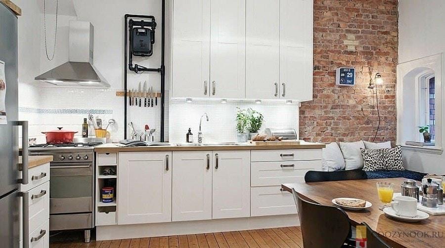 газовый счетчик, трубы, кухня, в скандинавском стиле, фото, пример