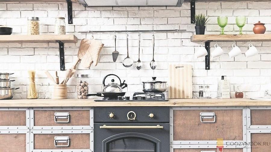 фартук, кирпич, кухня, в скандинавском стиле, фото, пример