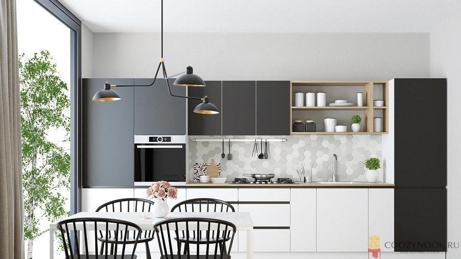 встроенная техника, кухня, в скандинавском стиле, фото, пример