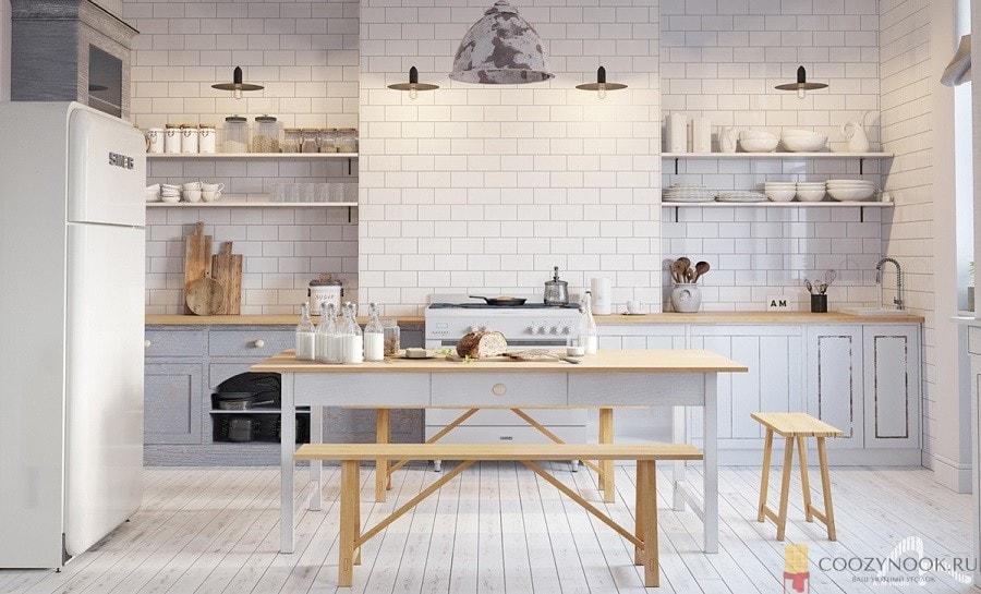 белая, кухня, в скандинавском стиле, фото, пример