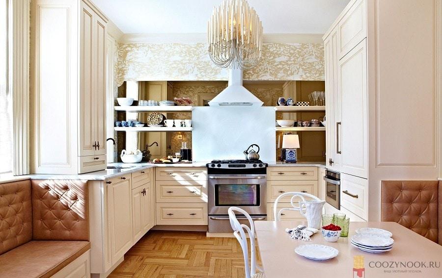 арт деко, без верхних шкафов, навесных, кухня, фото, пример