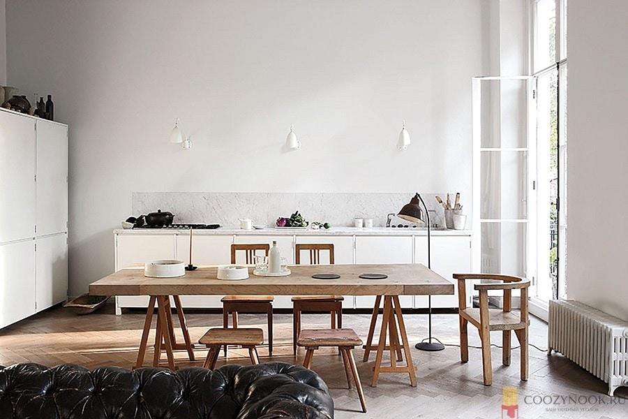 без верхних шкафов, кухня, в скандинавском стиле, фото, пример