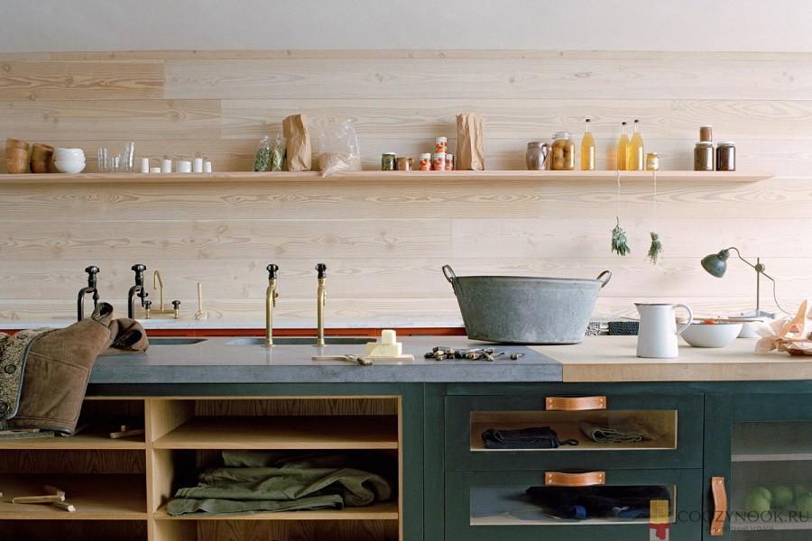 дерево, стена, без верхних шкафов, навесных, кухня, фото, пример