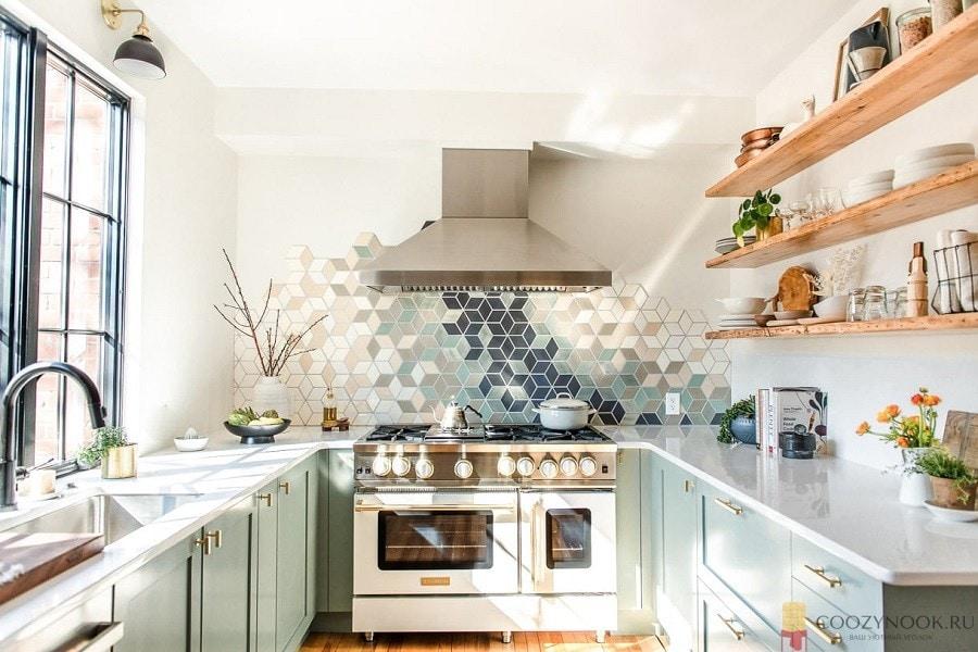 п-образная, без верхних шкафов, навесных, кухня, фото, пример