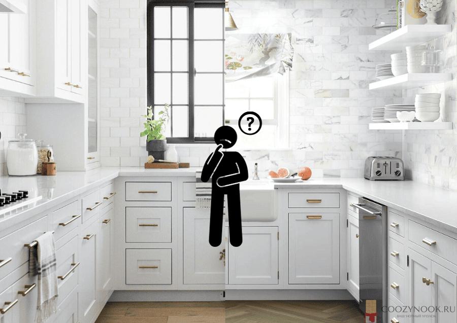 Кухня с верхними шкафами и с полочками