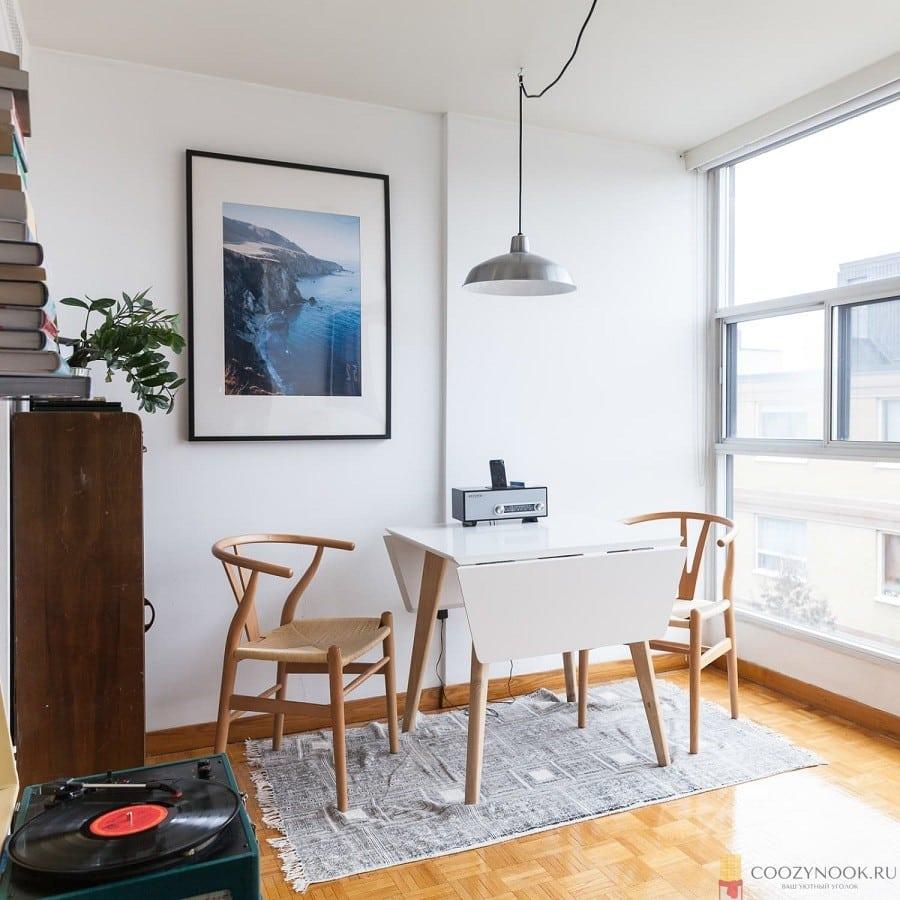 складной столик, кухня, в скандинавском стиле, фото, пример