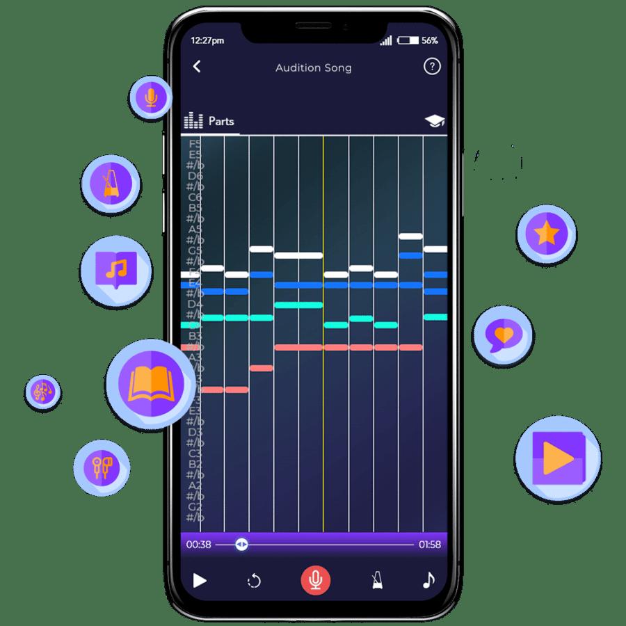Singing Feedback Screen On Harmony Helper App