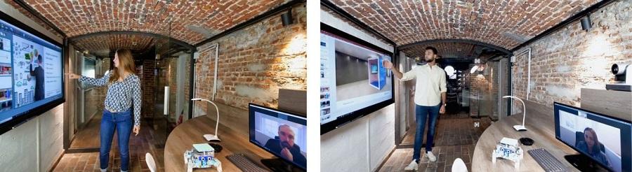 management avec écran interactif dans huddle room