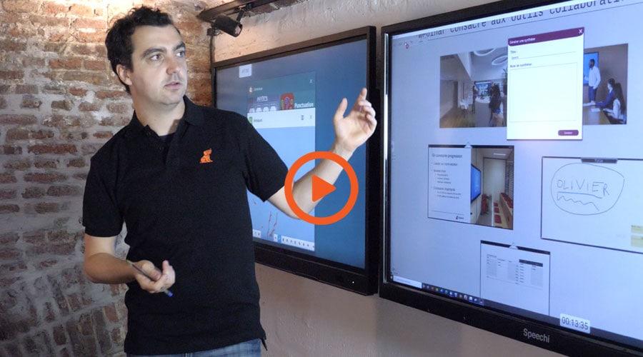 formation à distance pour écran interactif et outils collaboratifs dans la Huddle room de Speechi avec Tanguy notre formateur