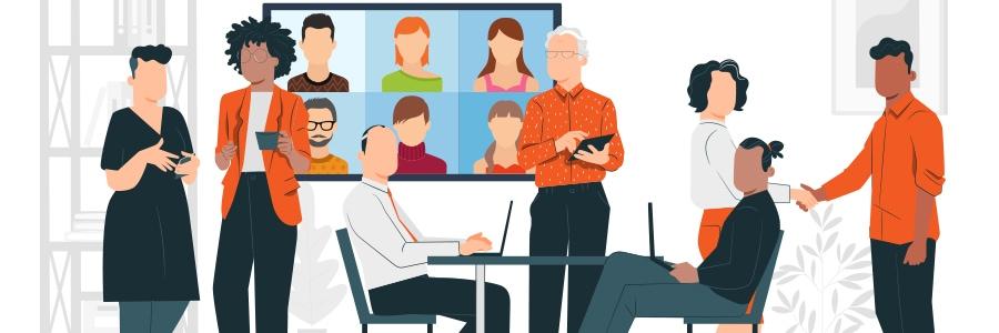 visioconférence en entreprise sur écran interactif