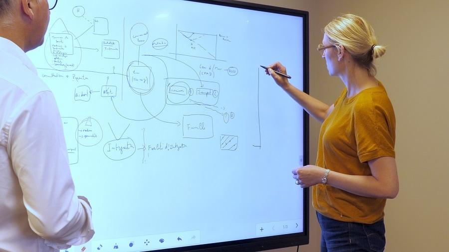 travailler et collaborer sur un écran interactif tactile