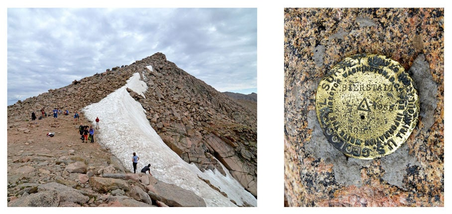 The summit of Mt. Bierstadt and the golden emblem showing the elevation of the summit.