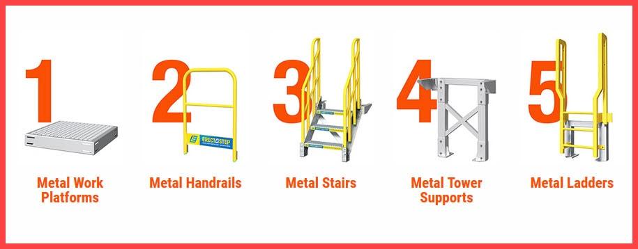 5 piece modular metal stairs system