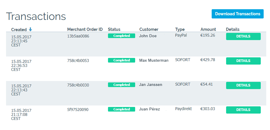 easy-online-payment - Dashboard - Transactions
