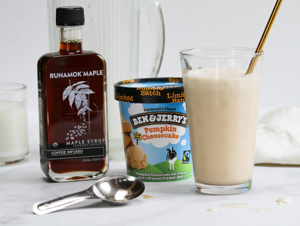 Runamok Coffee Infused Maple Syrup with Ben and Jerry's Pumpkin Spice Ice Cream