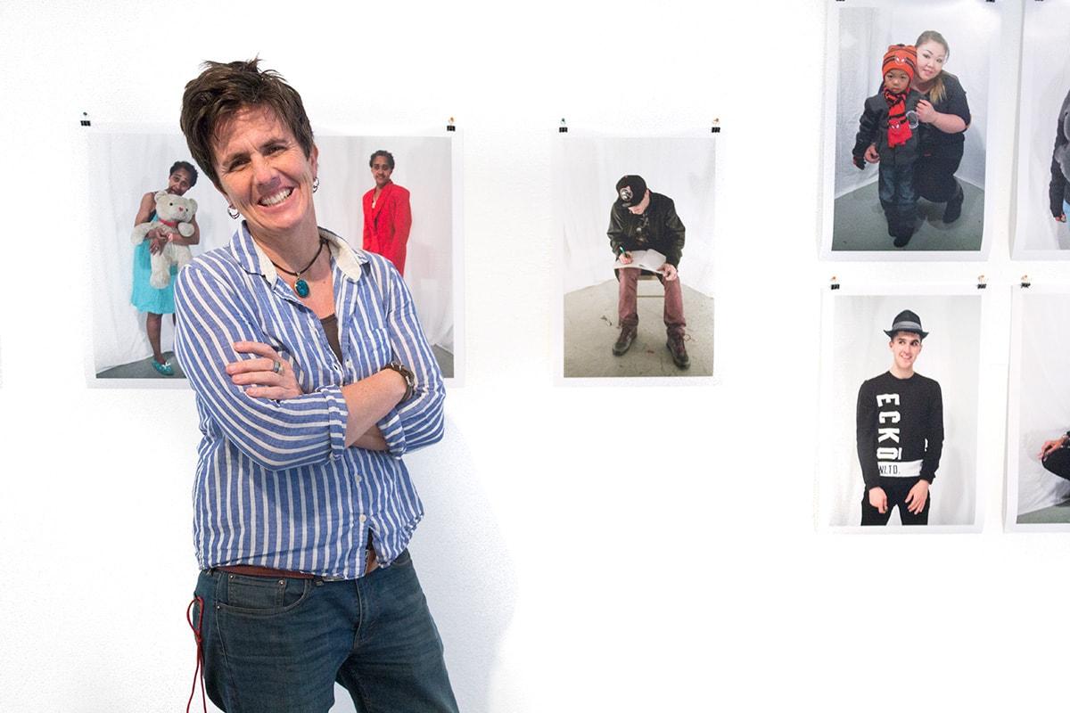 Deirdre Visser with the self portrait series