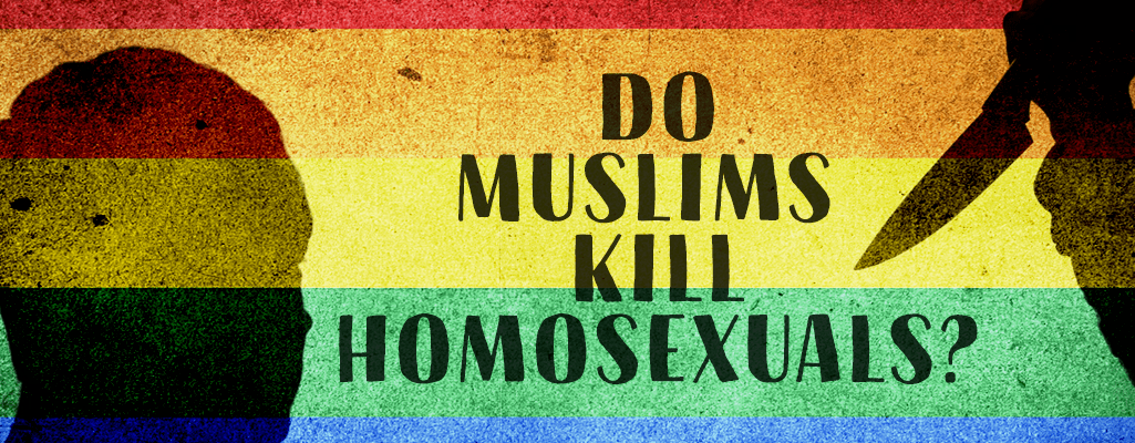 rainbow background with text: Do Muslims kill homosexuals?