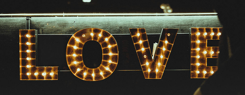 Love sign with lights, real love, God's love