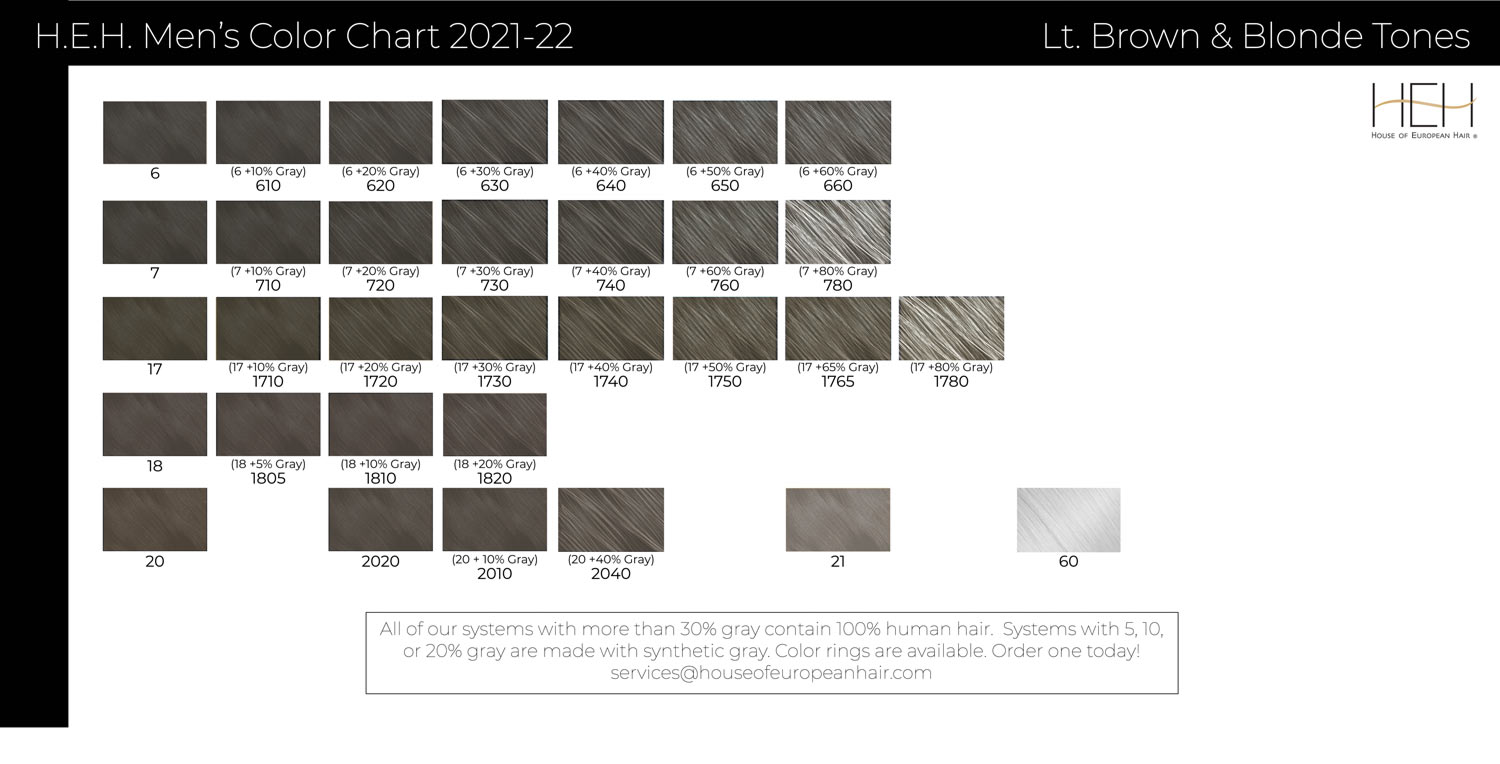 Men's hair system color chart - Blondes and Silvers