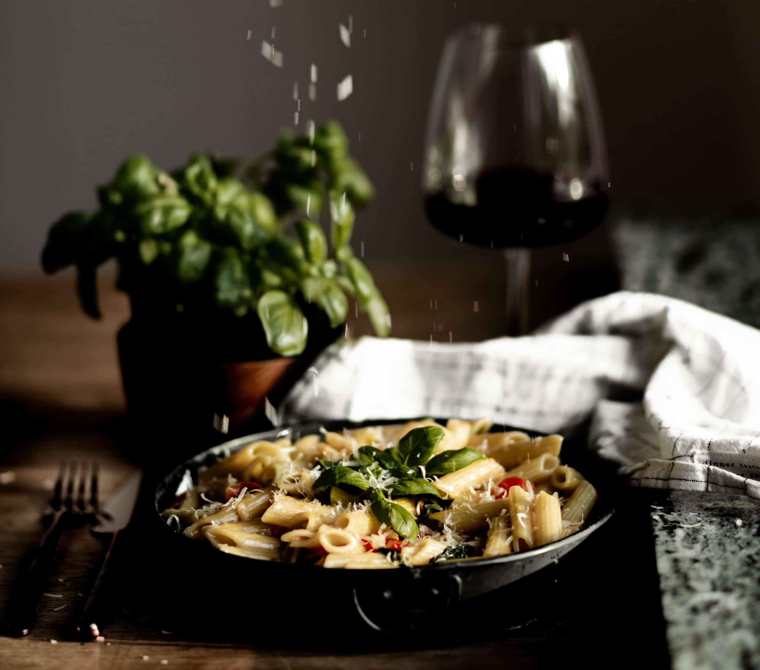 Vegetarisk mat och rödvin