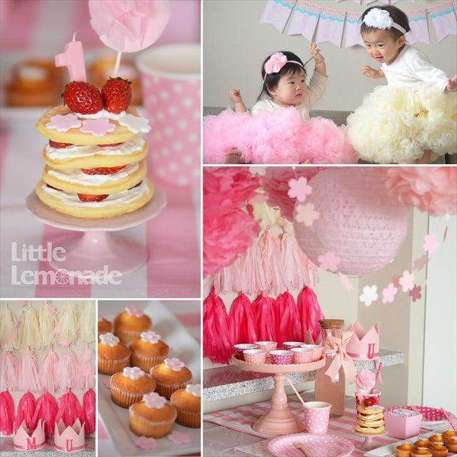 ラズベリーピンクの桜ファーストバースデイ パーティーレポート : Sakura Themed First Birthday Party Report