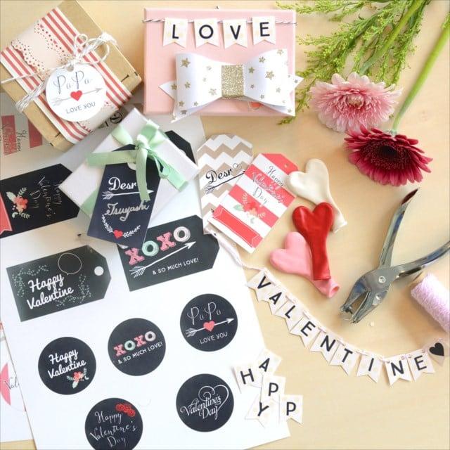 バレンタイン ギフトタグプリンタブル :  Valentine's day wrapping printable