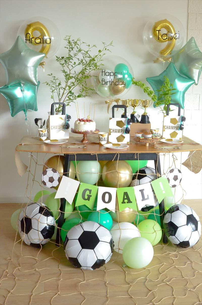 Soccer Themed 9th Birthday : グリーン×ゴールドのサッカーテーマバースデー