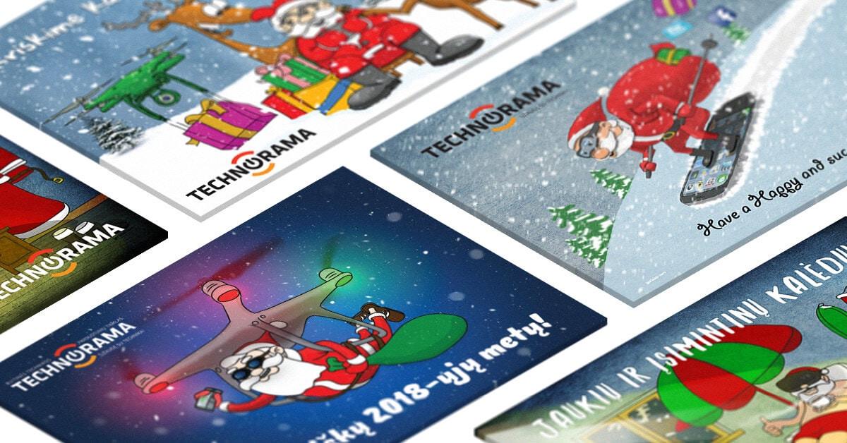 kalėdiniu atvirukų dizainas