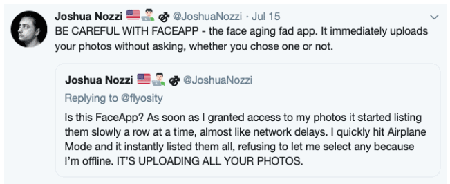 A deleted Joshua Nozzi Tweet about Faceapp.