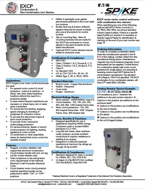 EXCP Explosion Proof Combination and Non-Combination Starters Spike Electric Catalog