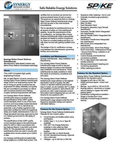 Synergy Eaton Power Defense Switchboard Catalot