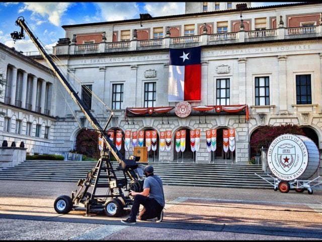 """Work has been slow for our entire industry, but it's starting to come back. Here's our 24ft jib at The University of Texas at Austin, as we """"virtually"""" welcome the new class of 2024 to the #Longhorn community."""