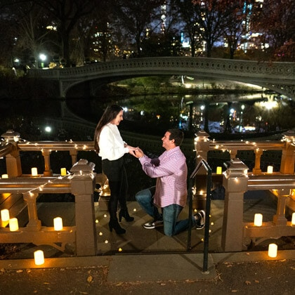 Candle Light Bow Bridge proposal