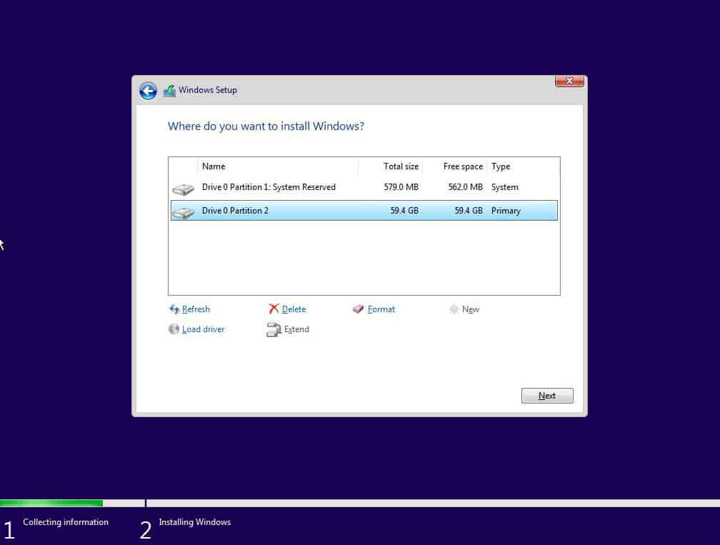 Windows 10 - System partition