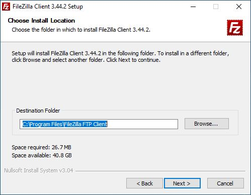FileZilla installation process - location