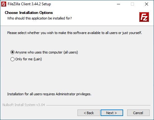 FileZilla installation process