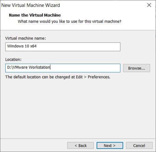 Location - Windows 10 on VMware