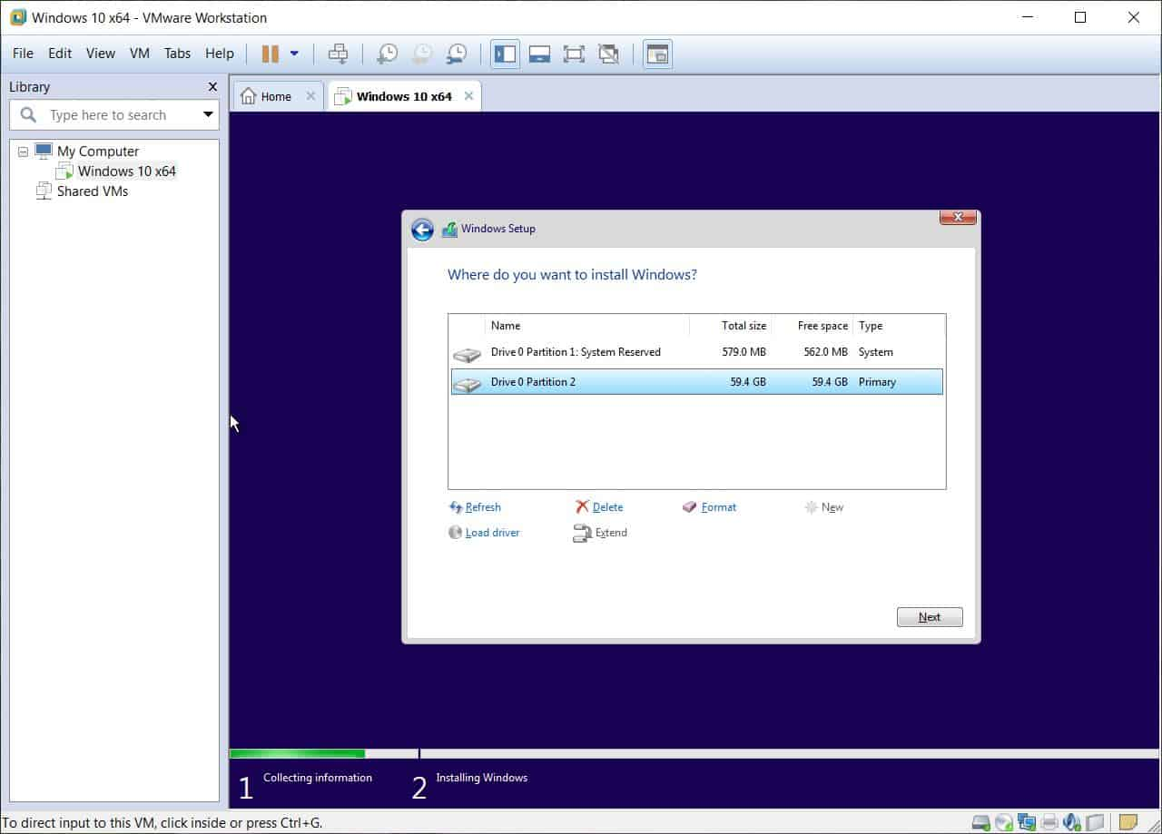 System partition - Windows 10 on VMware