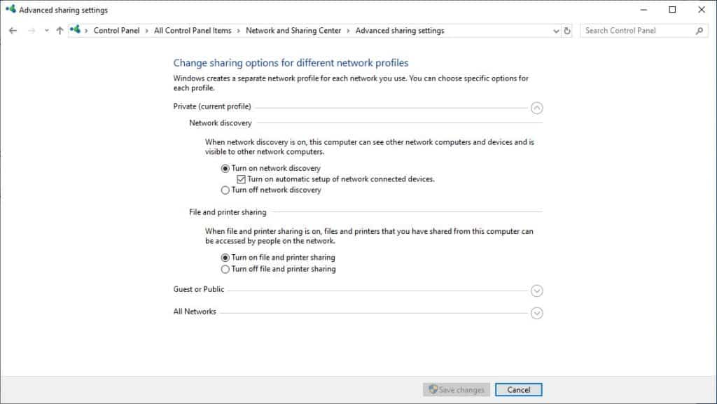 Windows 10 - Advanced sharing - Turn on discovery
