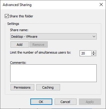 Windows 10 - Advanced sharing setup