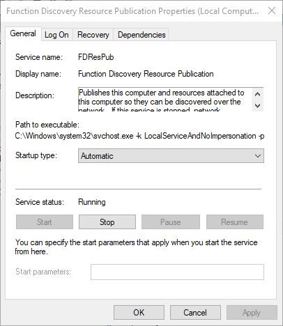 Windows 10 - Services Function Discovery Provider Host (FDPHost)