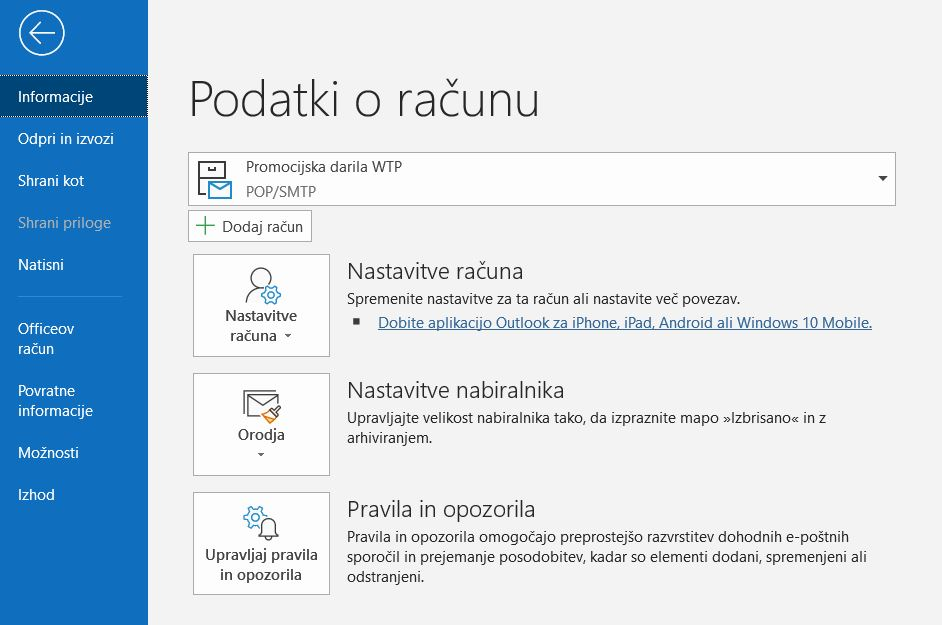 Outlook select Manage rules