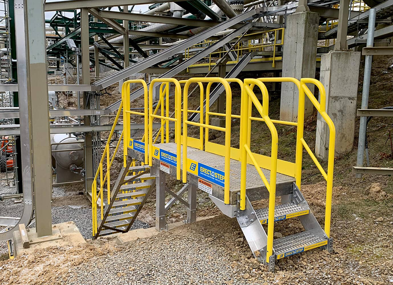 Powder coated metal stairs