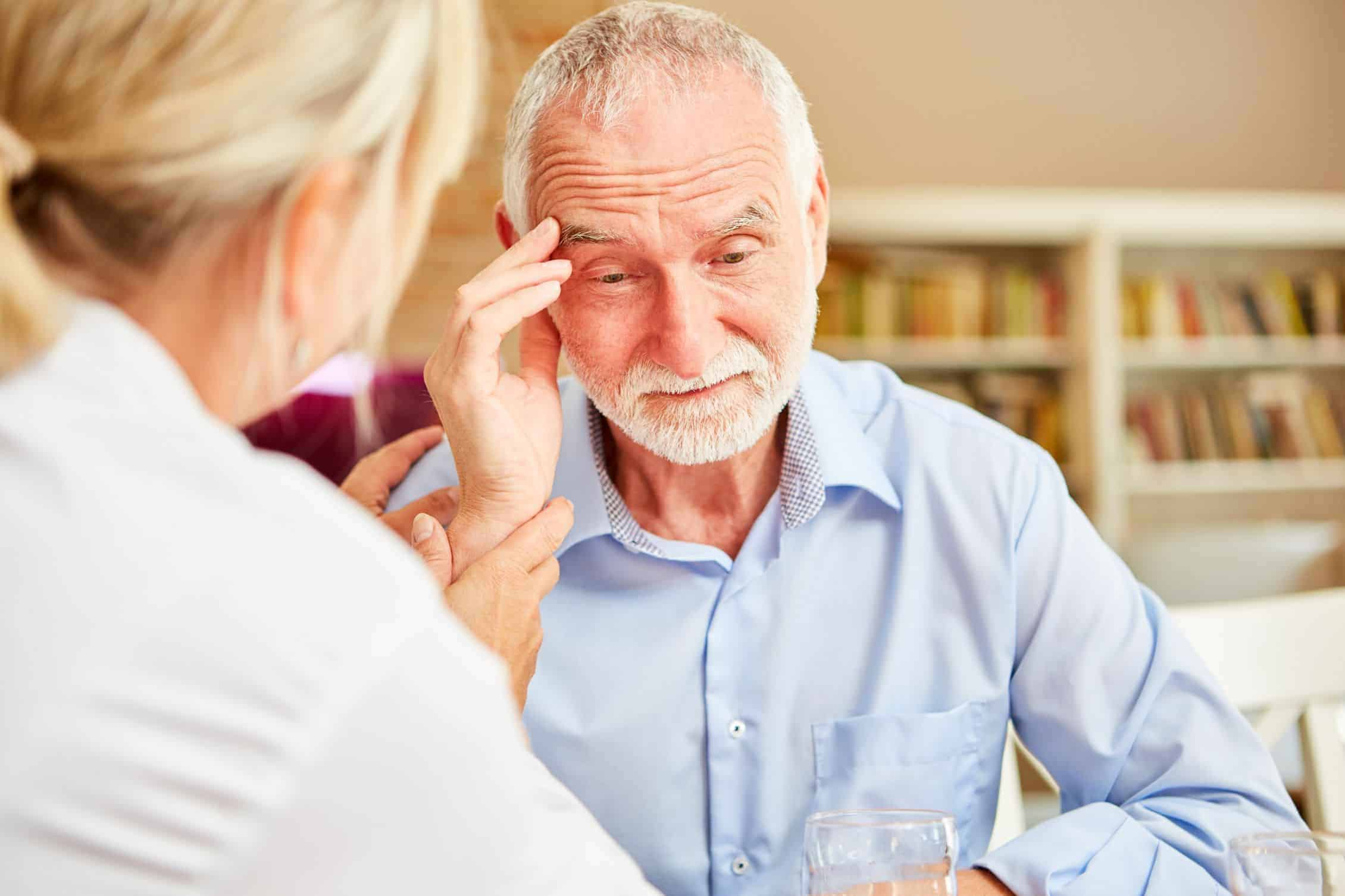 Frustrated senior struggling with dementia alzheimers