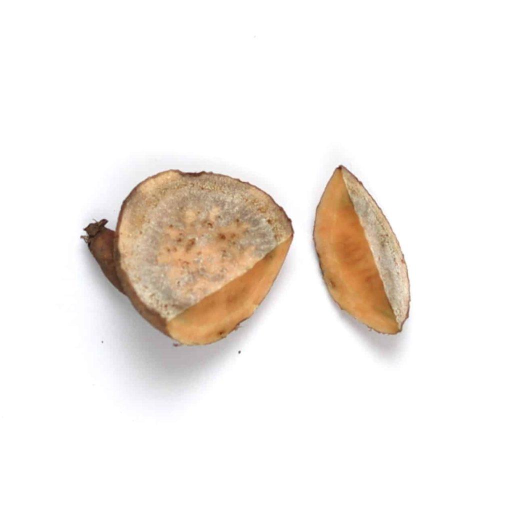 Cut, healed sweet potato