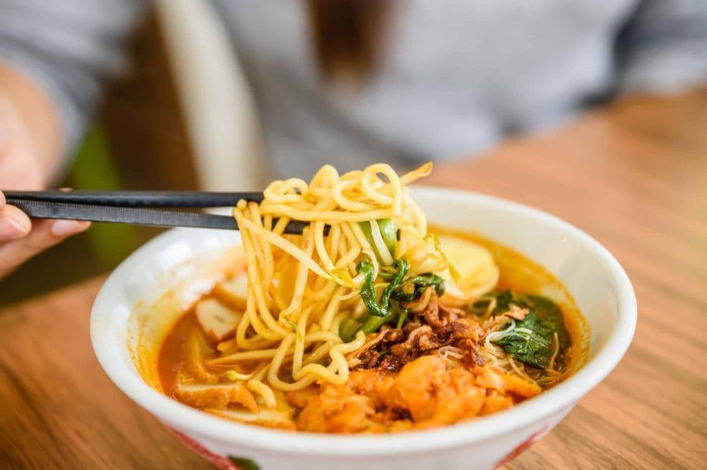 laksa made with left over egg noodles