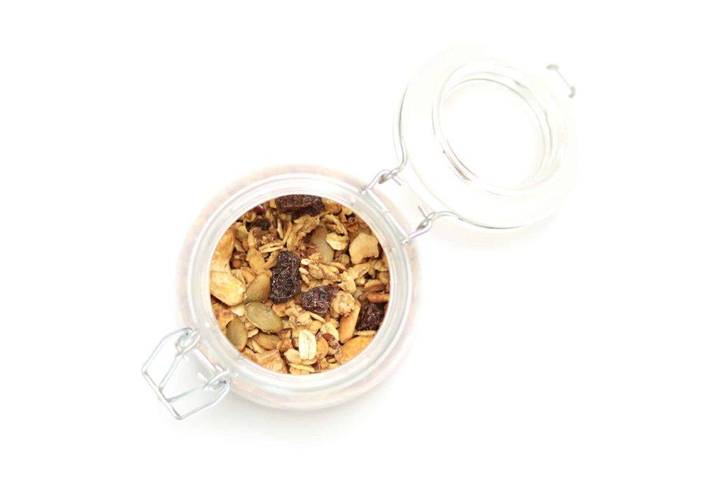 Granola in open mason jar