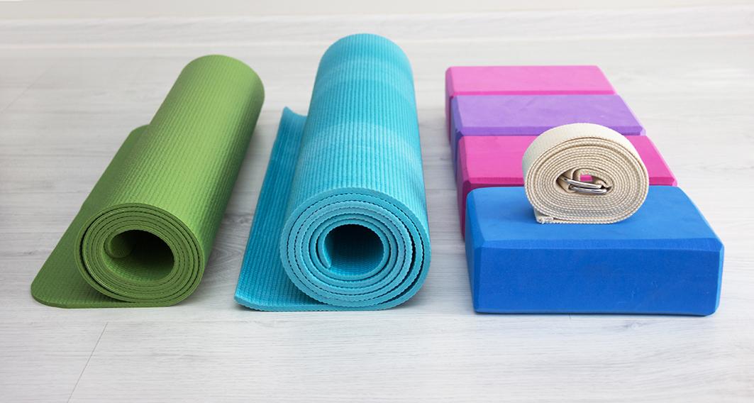yoga props blocks, strap, mat and towel
