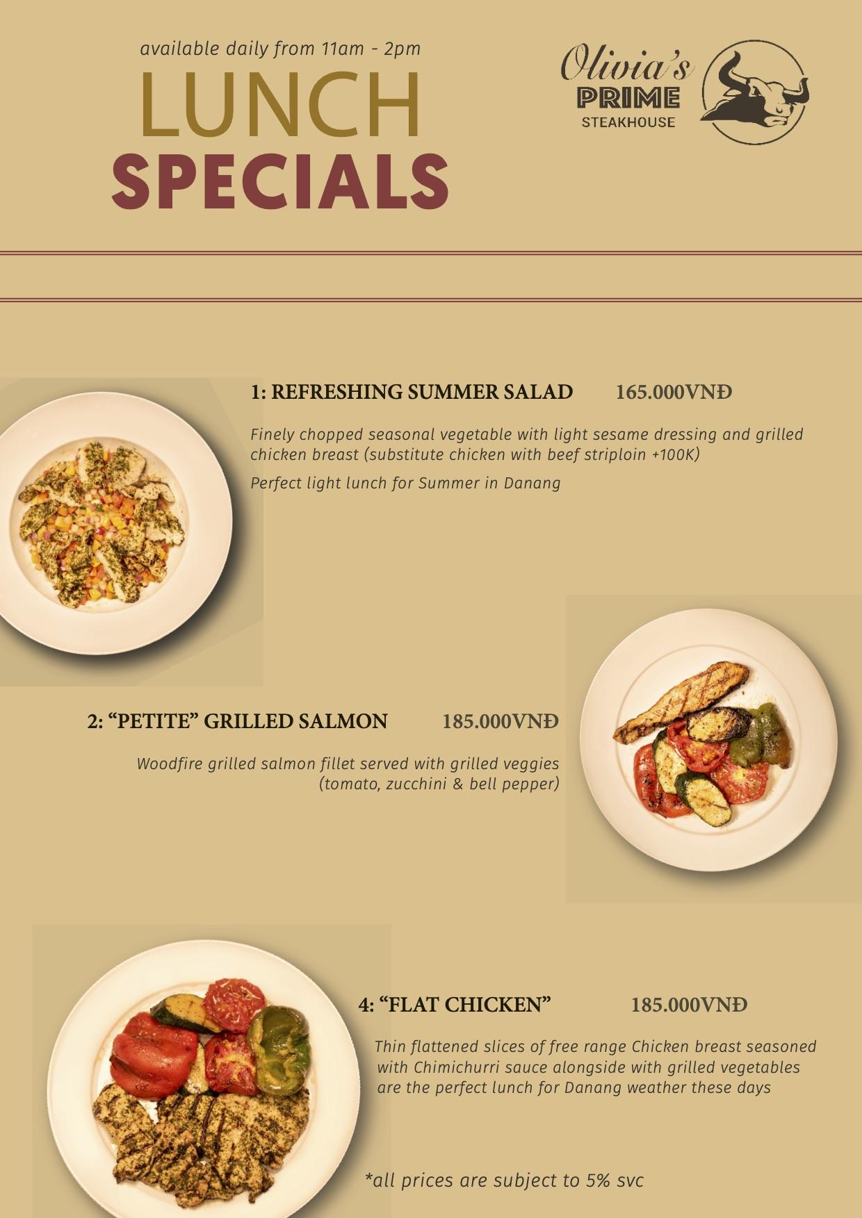 Olivia's Prime Steakhouse Lunch Menu